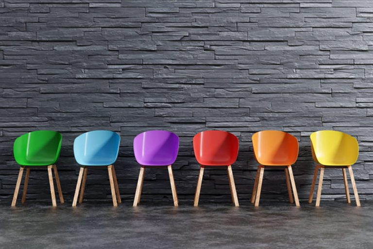 Color chairs in a row